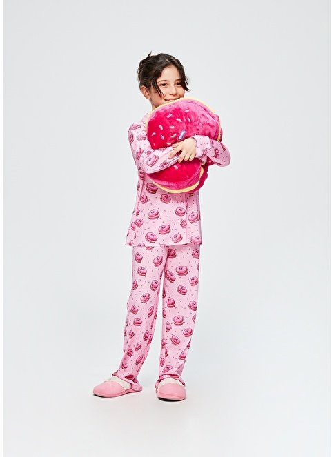Dagi Kız Çocuk Gömlek Uzun Kollu Pijama Takımı Fuşya